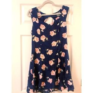 Navy blue floral tea dress.